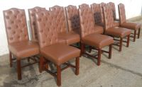 Set of Twelve Leather Highback Dining Chairs